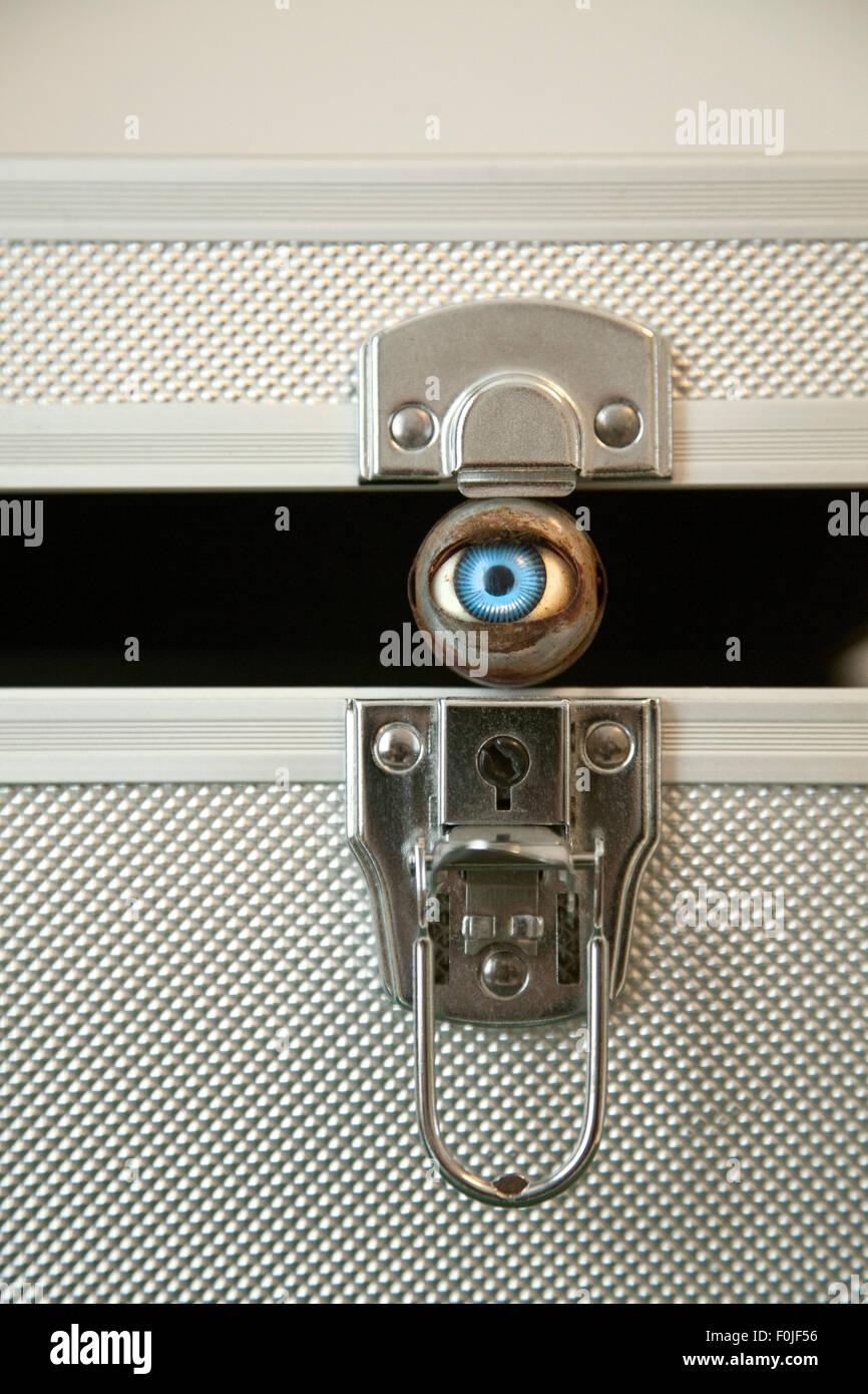 Eye Keeping Metal Case Open - Stock Image