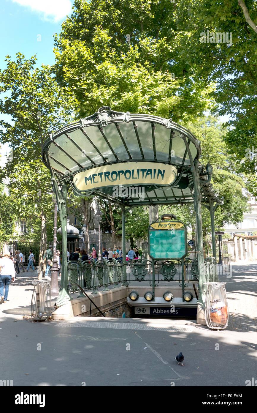 A conserved canopied Art Nouveau metro entrance designed by Hector Guimard, Place des Abbesses, Montmartre, Paris, Stock Photo