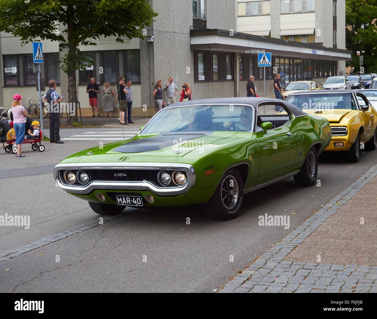 American cars in the Lappeenranta Cruising 2015, Finland - Stock Image
