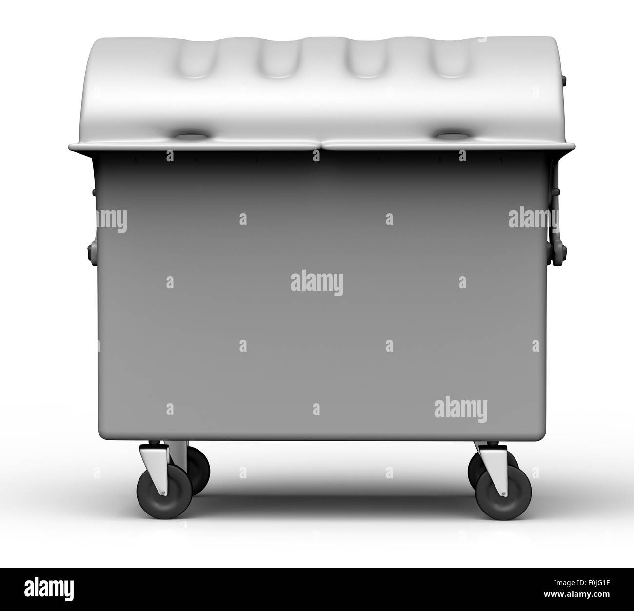 grey garbage container isolated on white background. - Stock Image