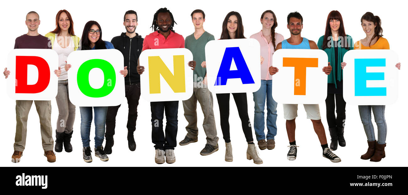 Smiling group of young multi ethnic people holding word donate money donation isolated on white - Stock Image
