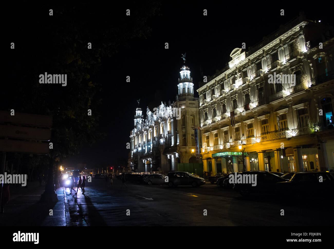 Havana, Cuba's Hotel Inglaterra and Gran Teatro de Habana at night. - Stock Image
