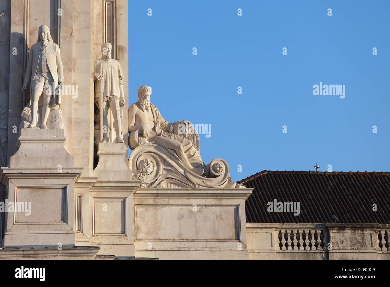 Statues at Rua Augusta Arch in Lisbon, Portugal, architectural details - Stock Image