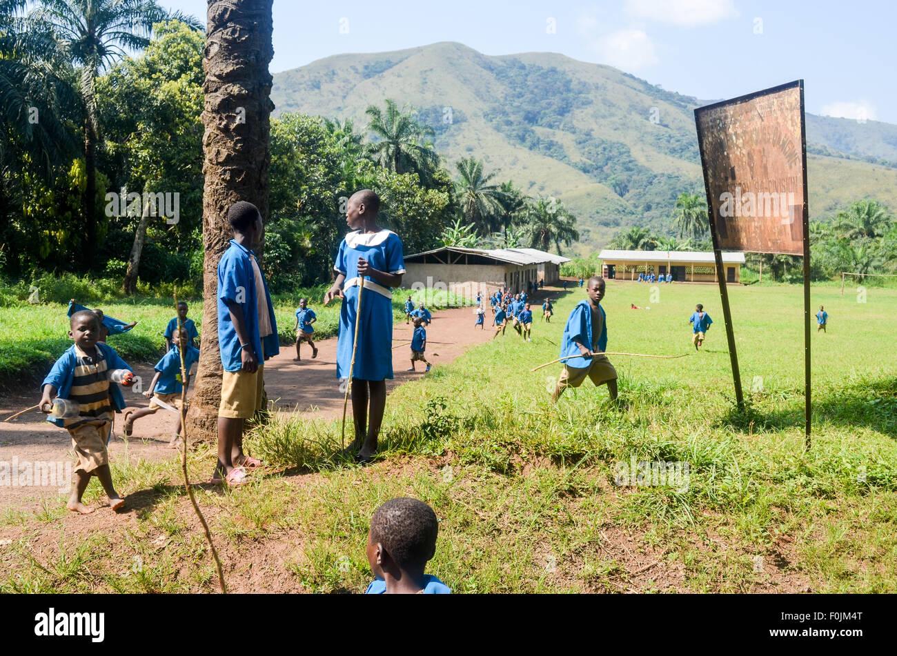 School children in uniform at a rural school in Cameroon - Stock Image