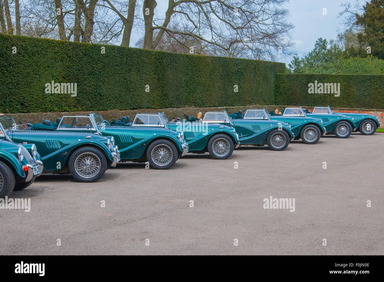 A line of Morgan sports cars. - Stock Image
