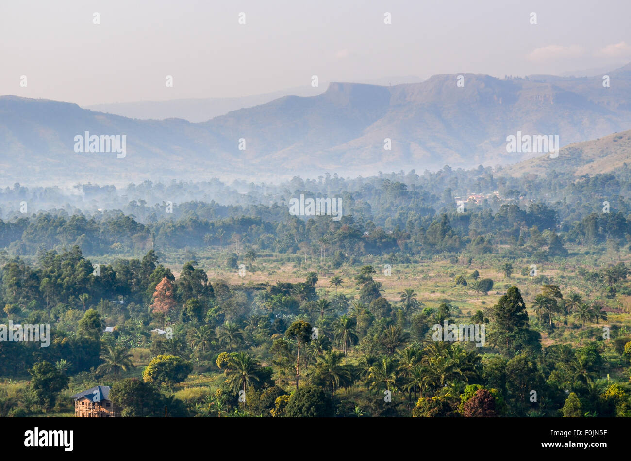 Aerial view of misty rural Cameroon - Stock Image