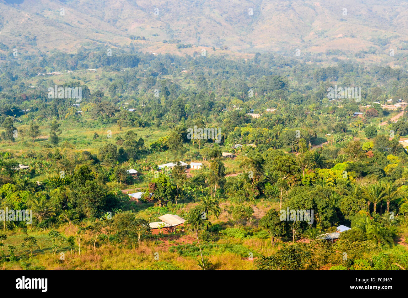 Aerial view of rural Cameroon - Stock Image