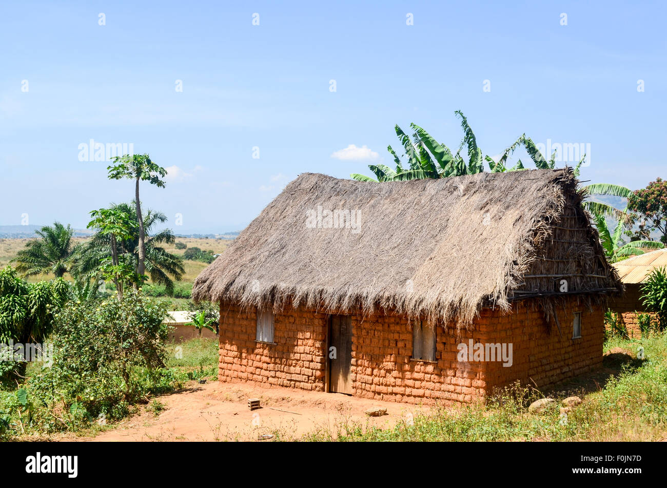 House of mud bricks in Cameroon - Stock Image