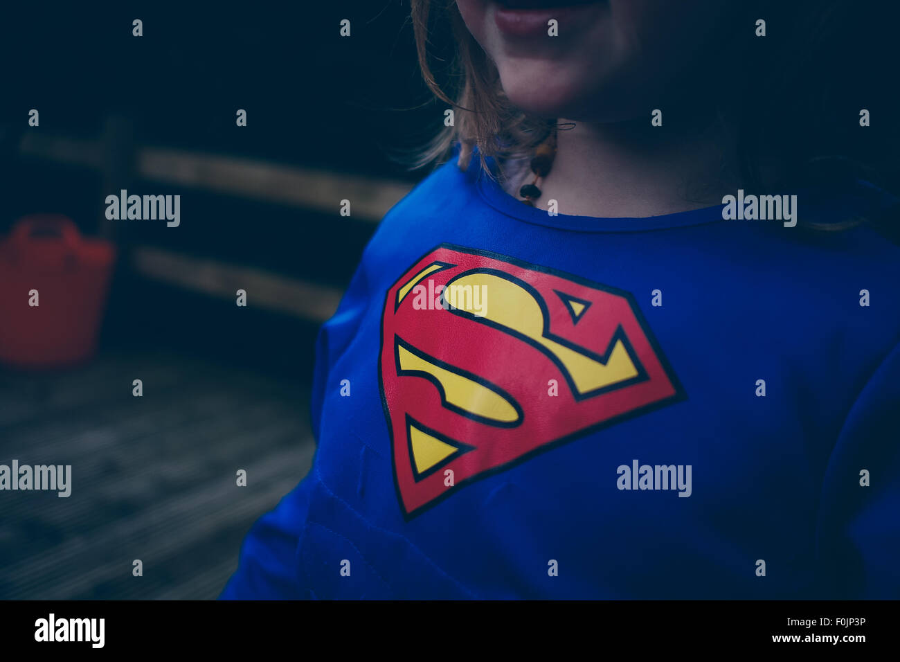 Close up of a childs Superman shirt - Stock Image