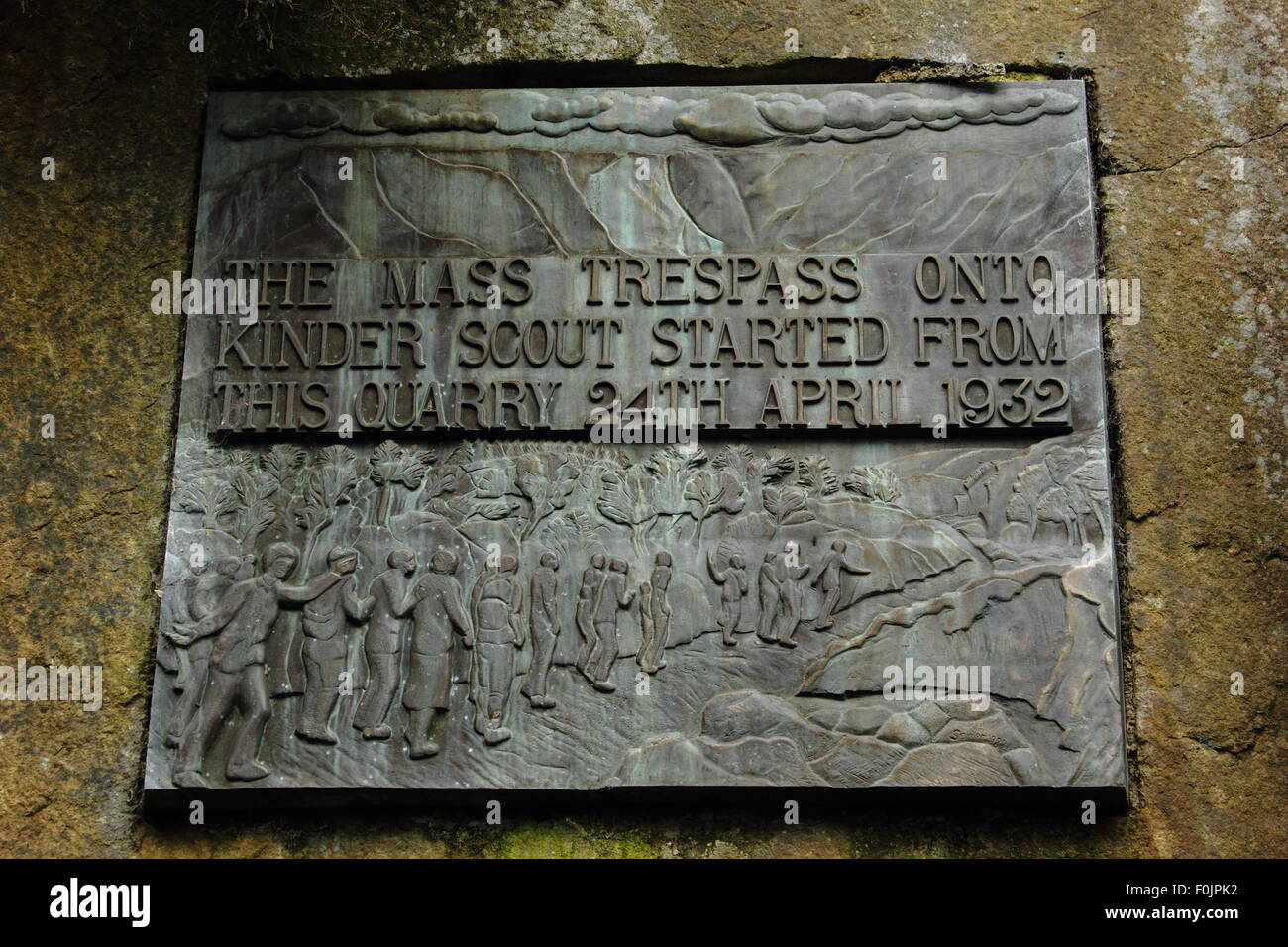A  commemorative plaque near Kinder Scout marks where the mass trespass of 1932 started, Peak District England UK - Stock Image