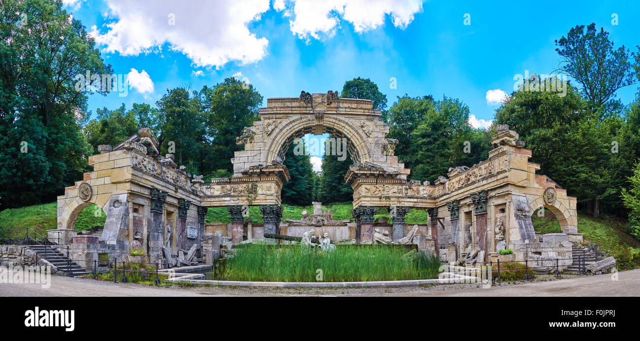Roman ruins inside Schonbrunn park in Vienna, Austria Stock Photo