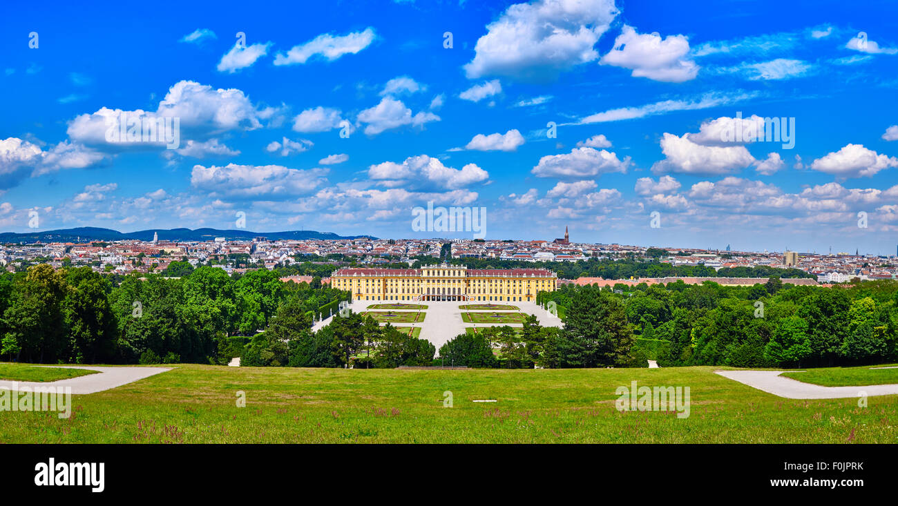 Schonbrunn palace panorama in Vienna, Austria with beautiful blue cloudy sky Stock Photo