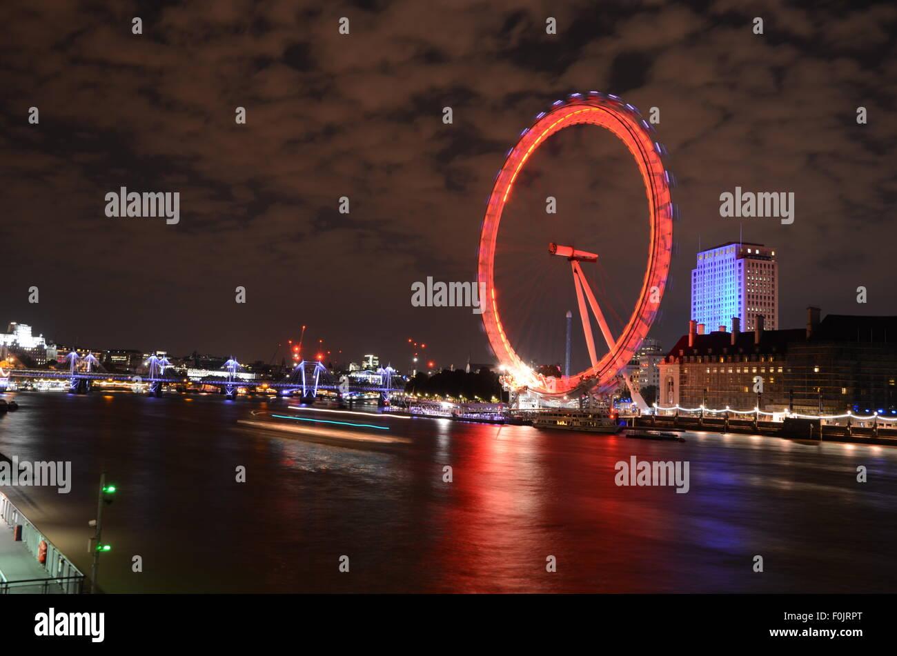 London Eye, United Kingdom, River Thames - Stock Image