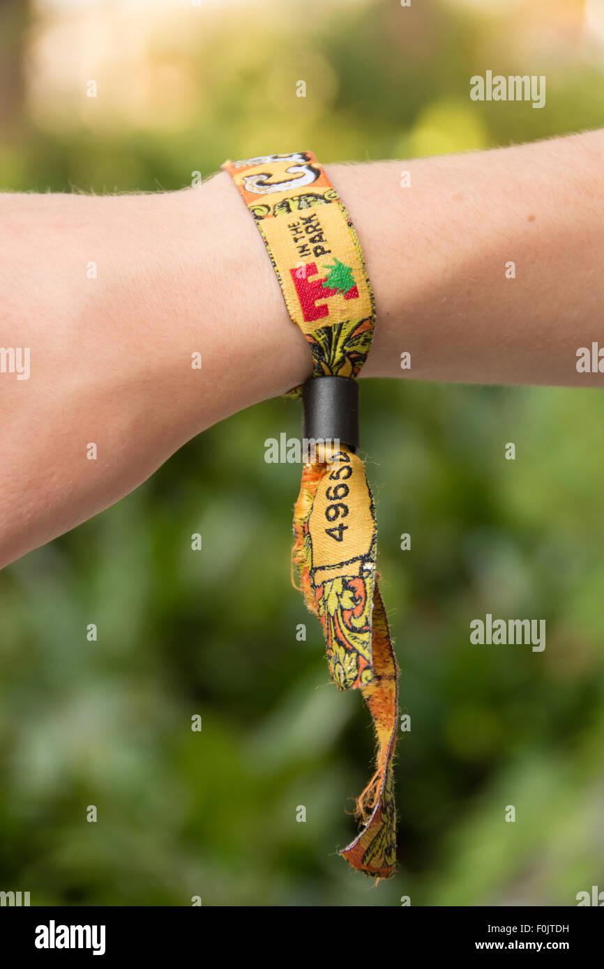 T in the Park festival wrist band 2015 - Scottish music festival - Stock Image