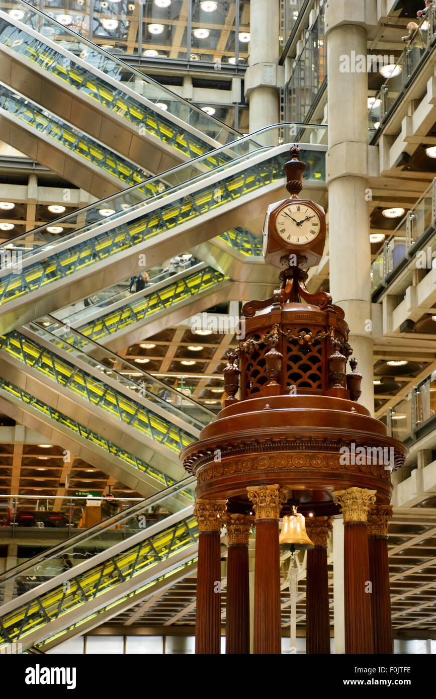 The Rostrum with the Lutine Bell in the Underwriting Room of the Lloyds Building, London, UK - Stock Image