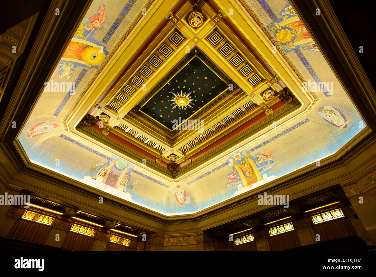 Grand Temple Room at the Freemasons Hall, London, England, United Kingdom - Stock Image