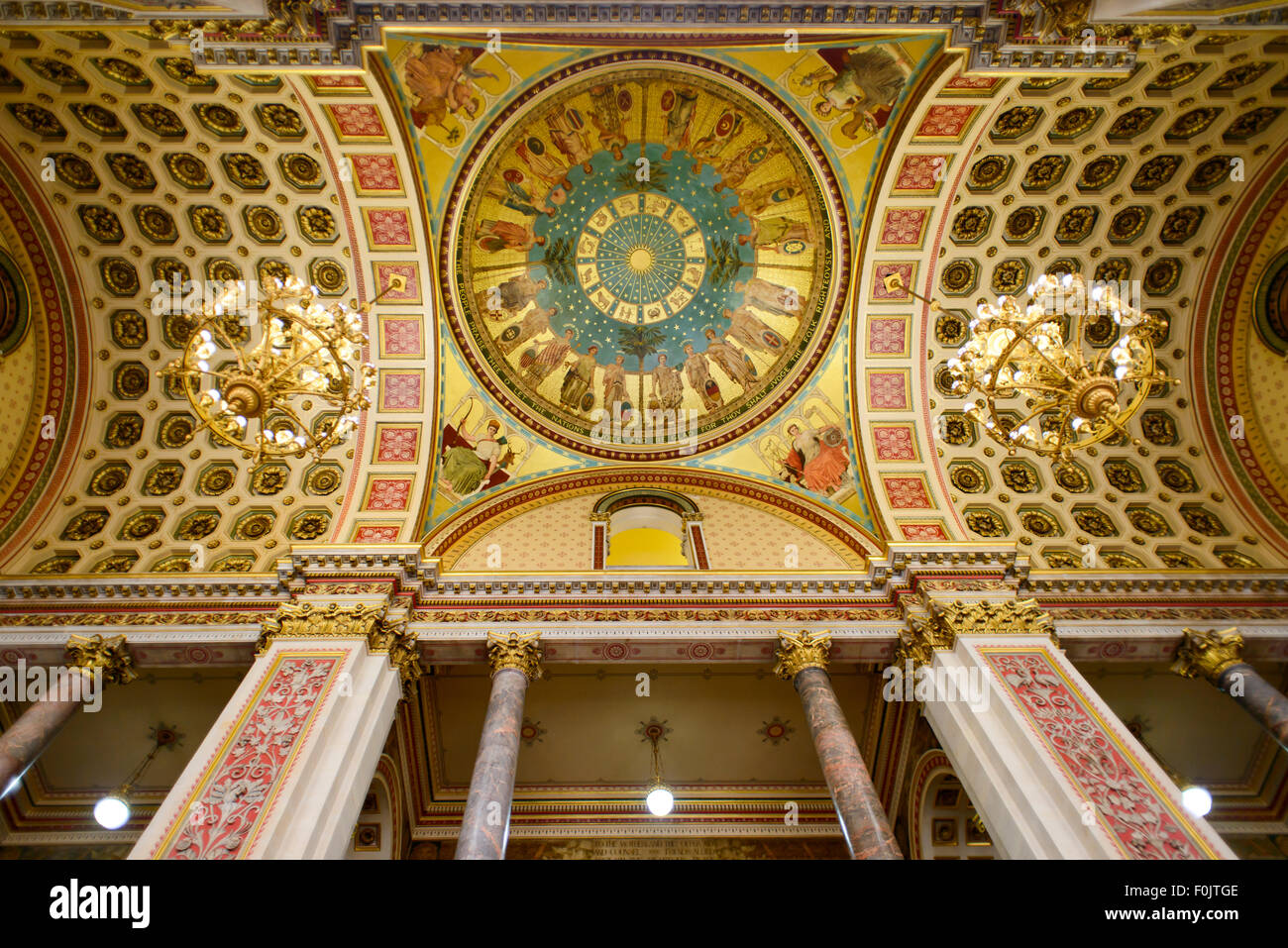 The ceiling of the Grand Staircase at the Foreign and Commonwealth Office, London, England, UK Stock Photo