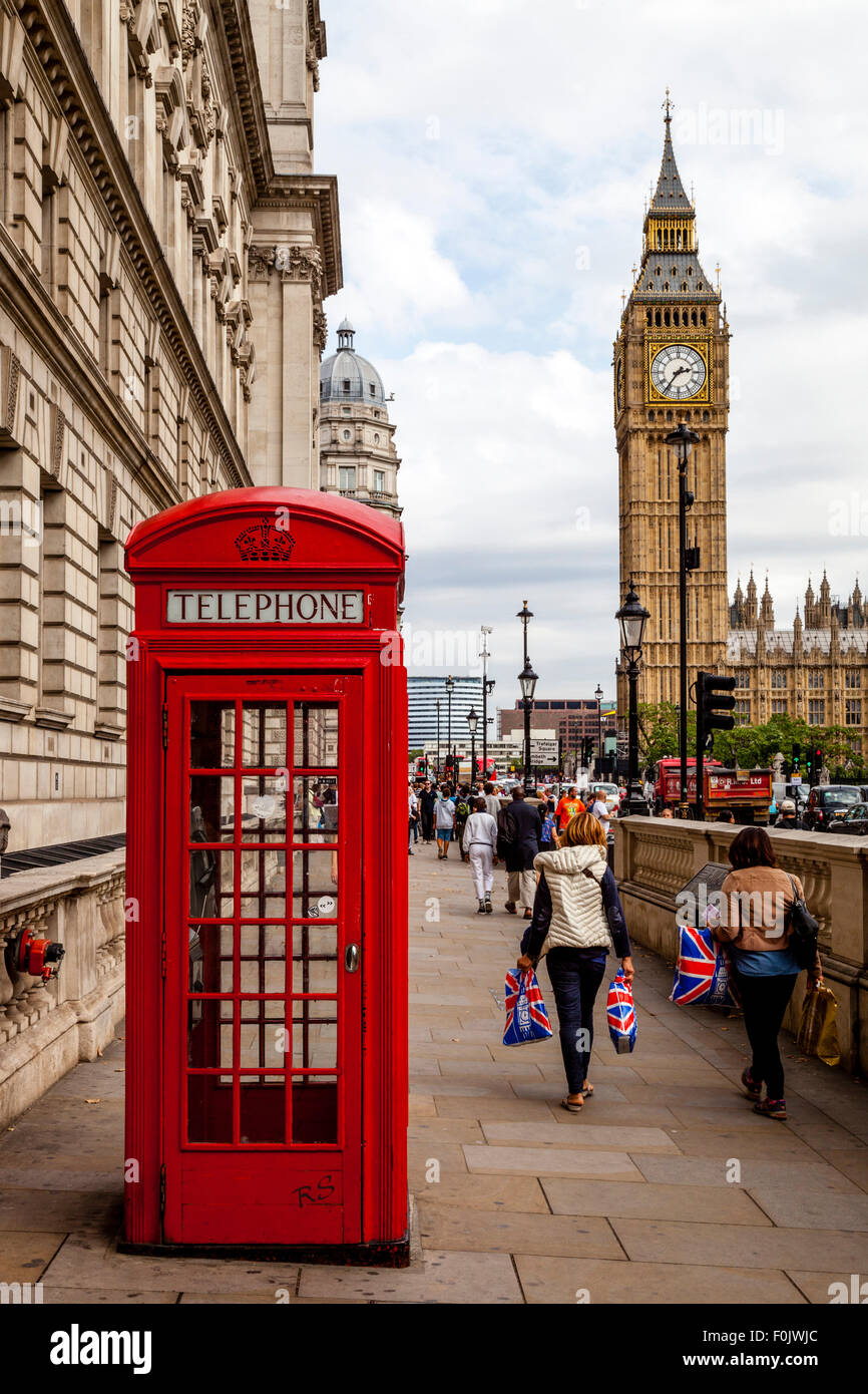 A Traditional Red Telephone Box and Big Ben, London, England - Stock Image