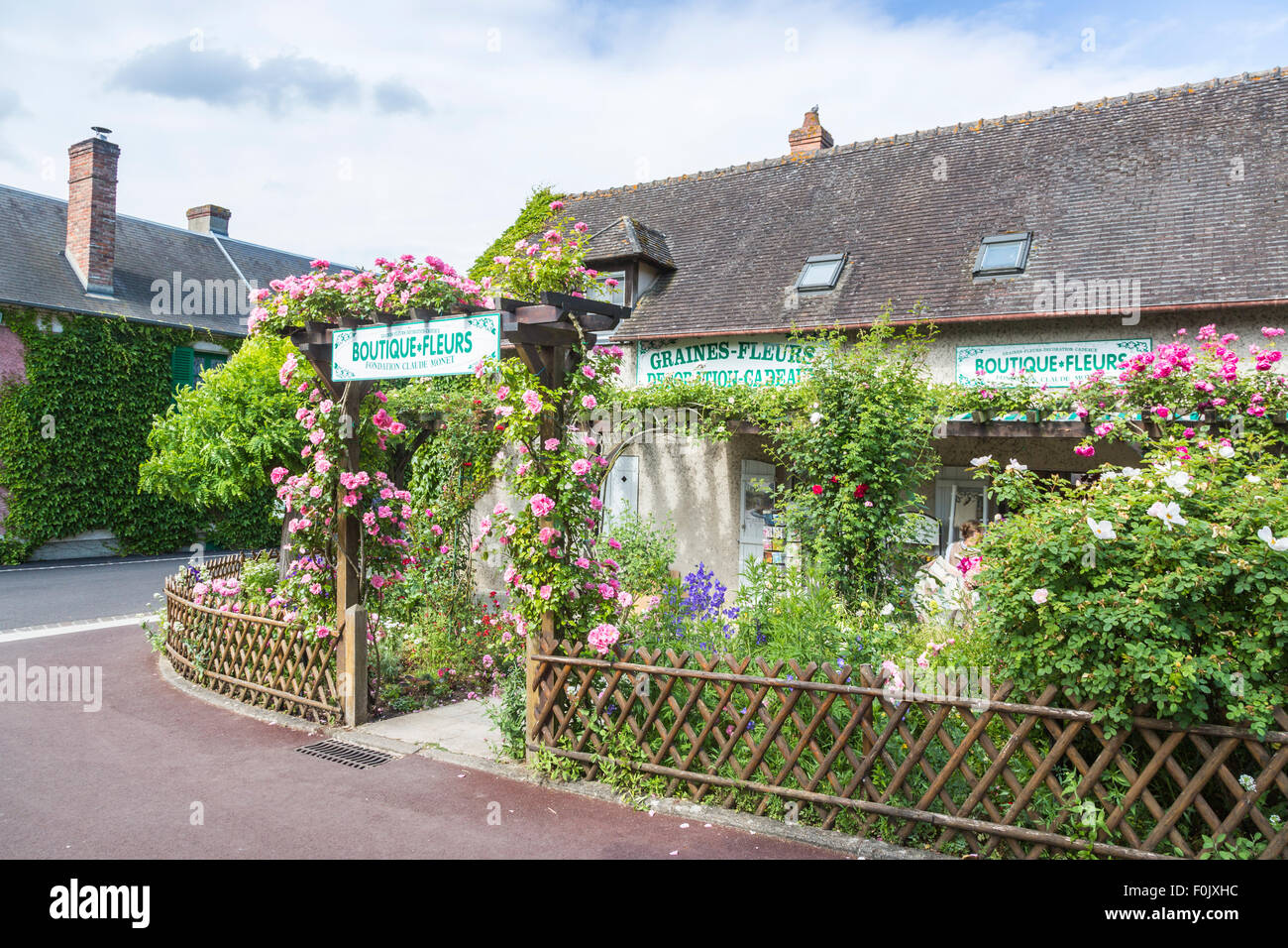 Pretty Pink Rose Covered Entrance To Gift Shop At Giverny, The Garden Of  Impressionist Claude Monet, Normandy, Northern France