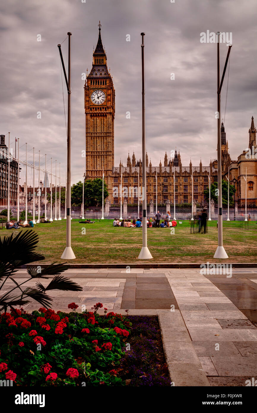 Parliament Square and The Houses Of Parliament, London, England - Stock Image