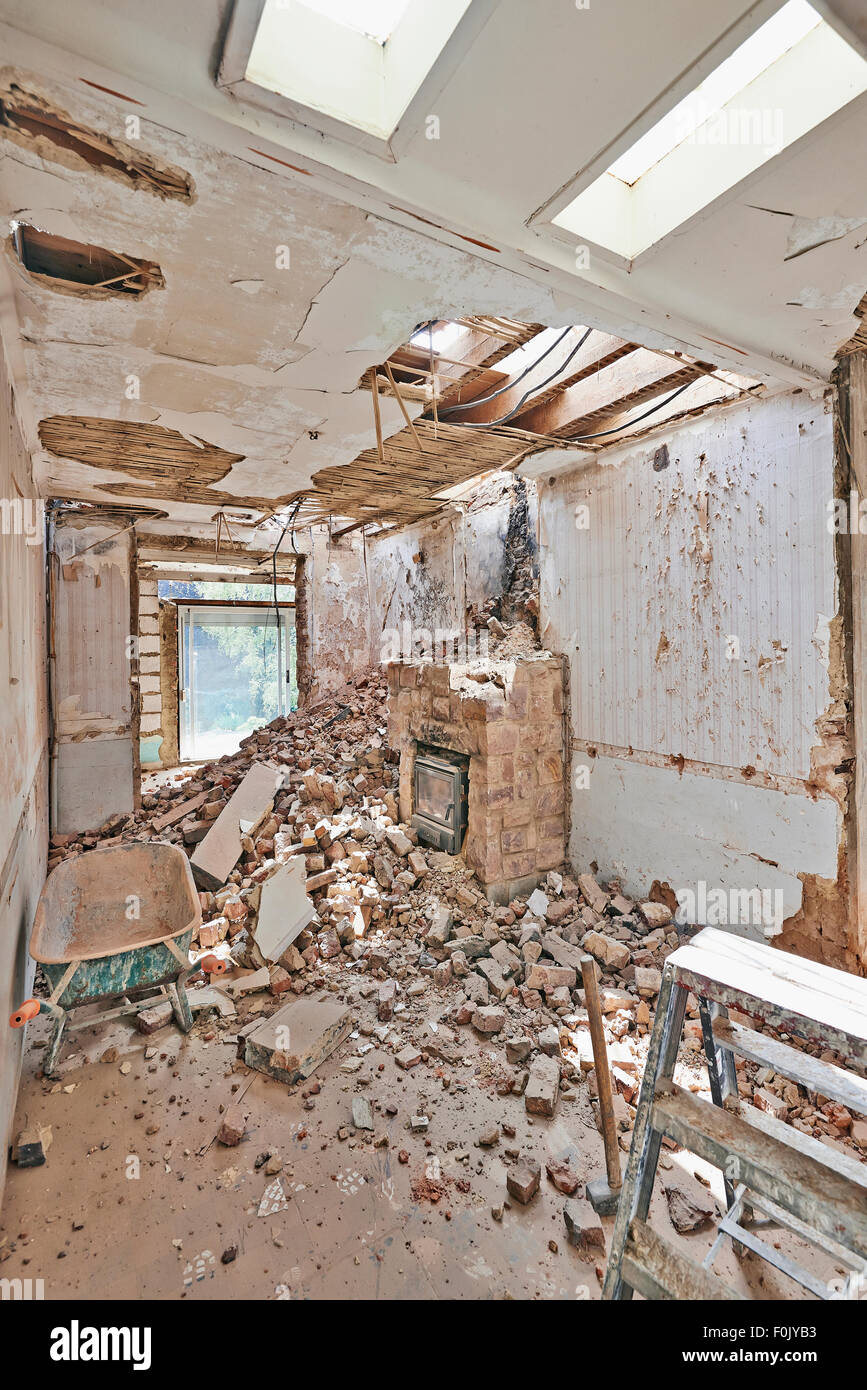 Abandoned room under demolition before renovation Stock Photo
