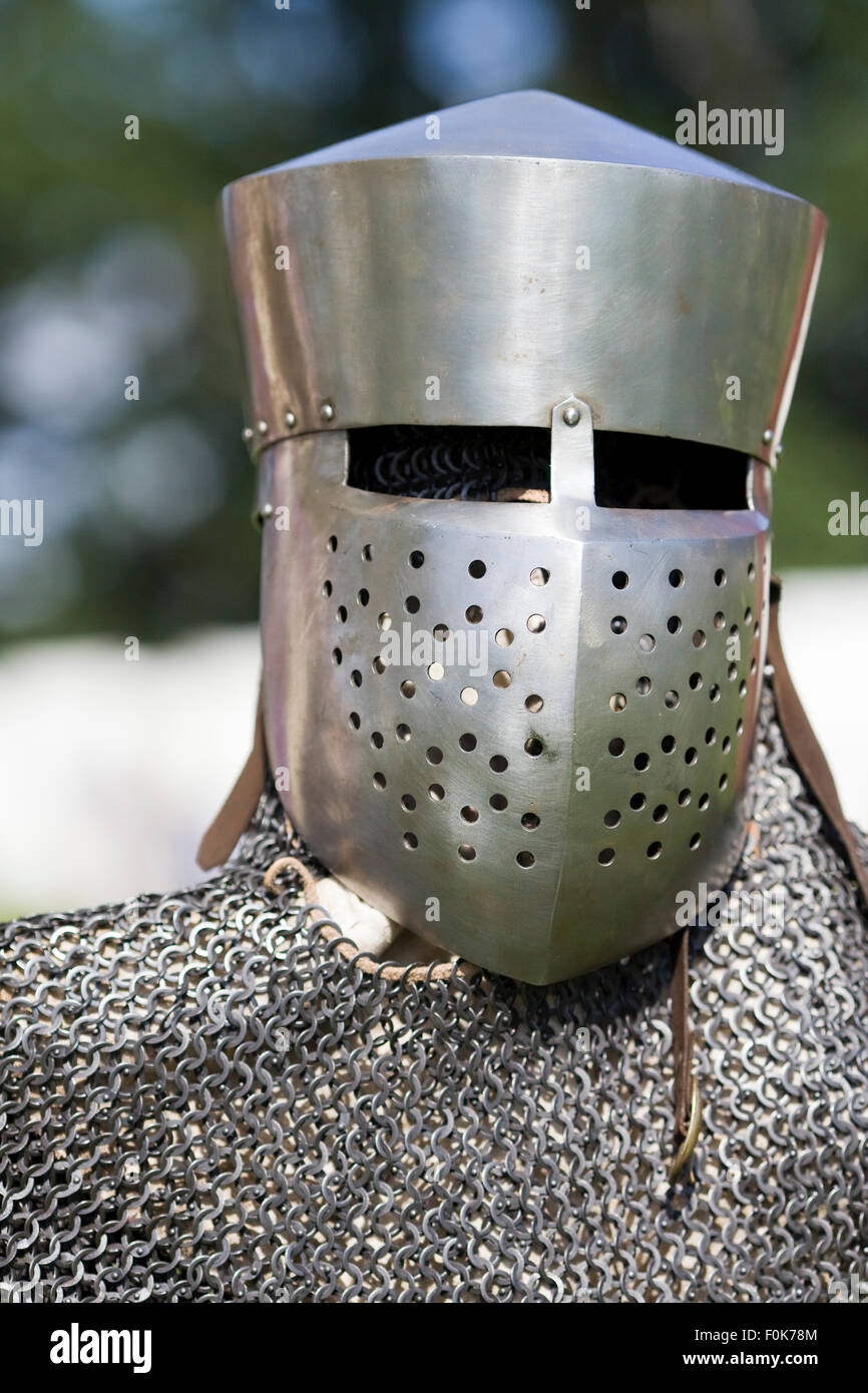 Knights armor Helmet and chain mail - Stock Image