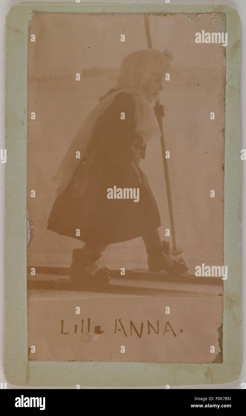 Anna Slöör, Mary Gallén´s little sister, skiing in Malmi at - Stock Image