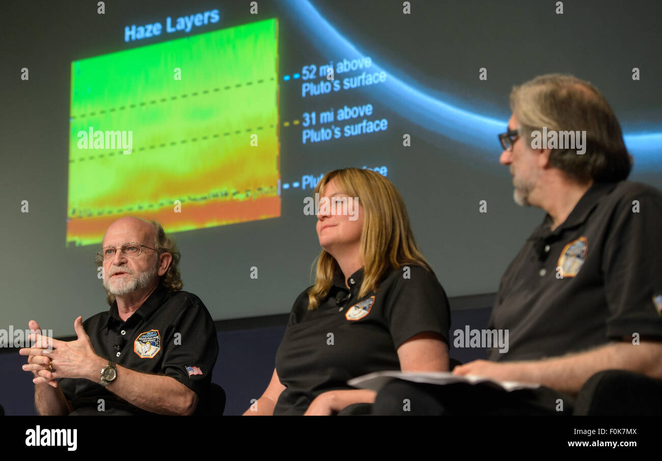 Michael Summers, New Horizons co-investigator at George Mason University in Fairfax, Virginia, left, is seen during - Stock Image