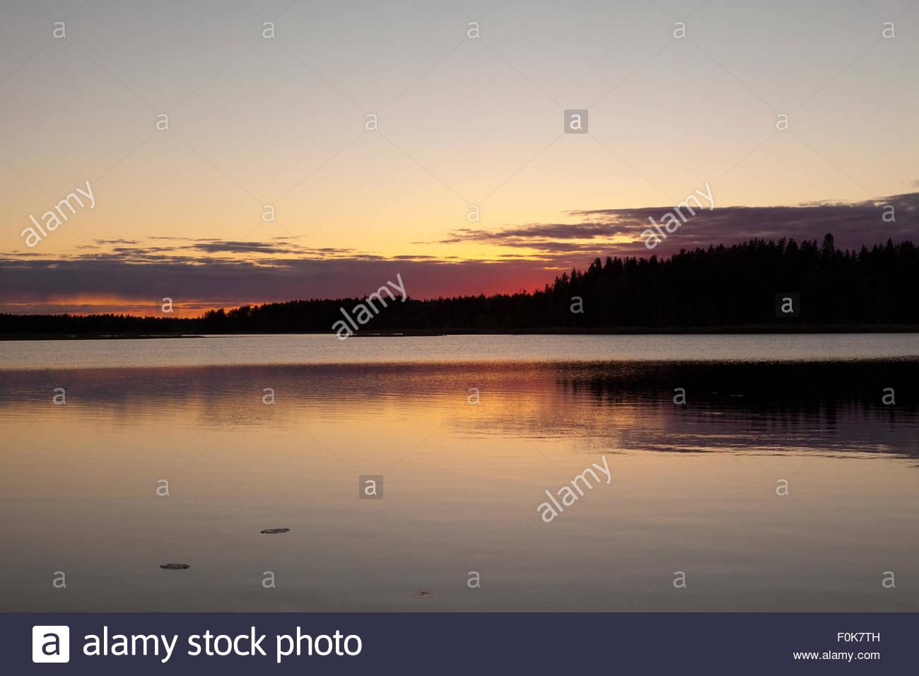 Quiet evening at lake Koskeljärvi Finland - Stock Image
