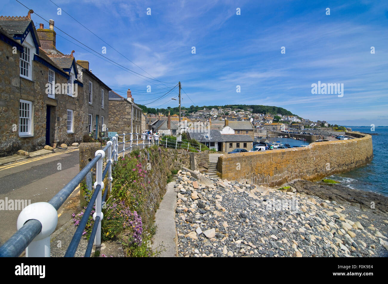 Horizontal street view of Mousehole in Cornwall. Stock Photo