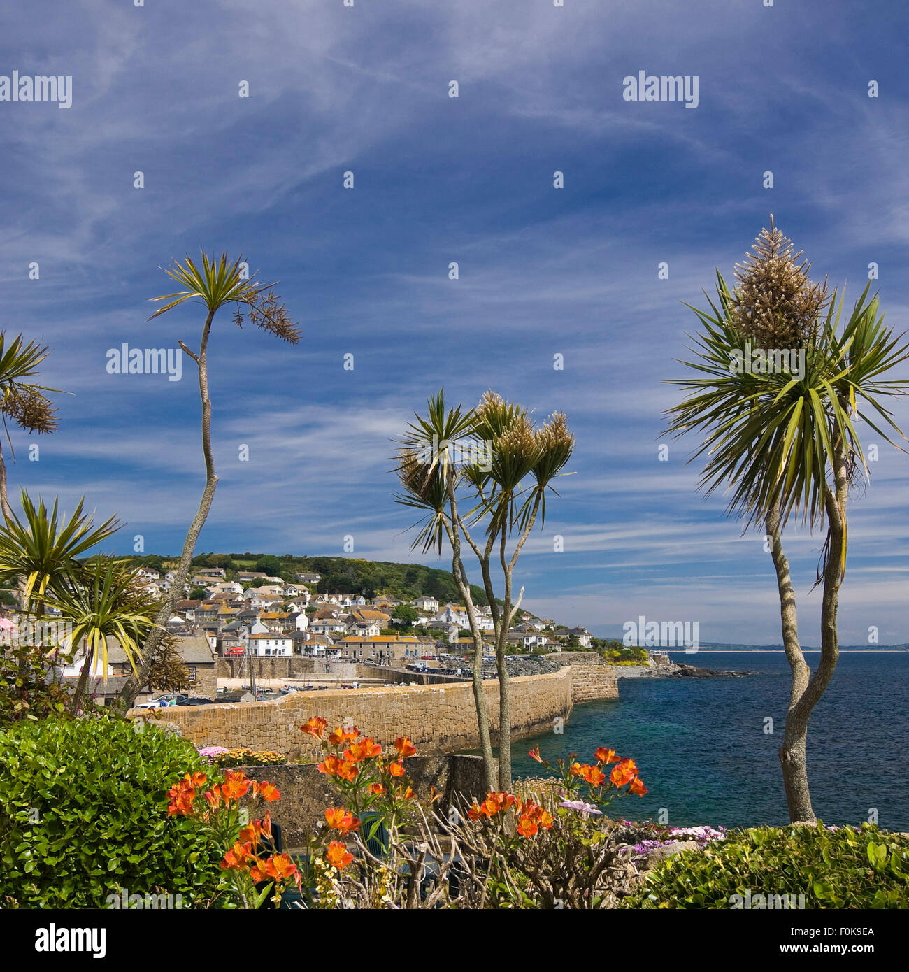 Square view of Mousehole in Cornwall. Stock Photo