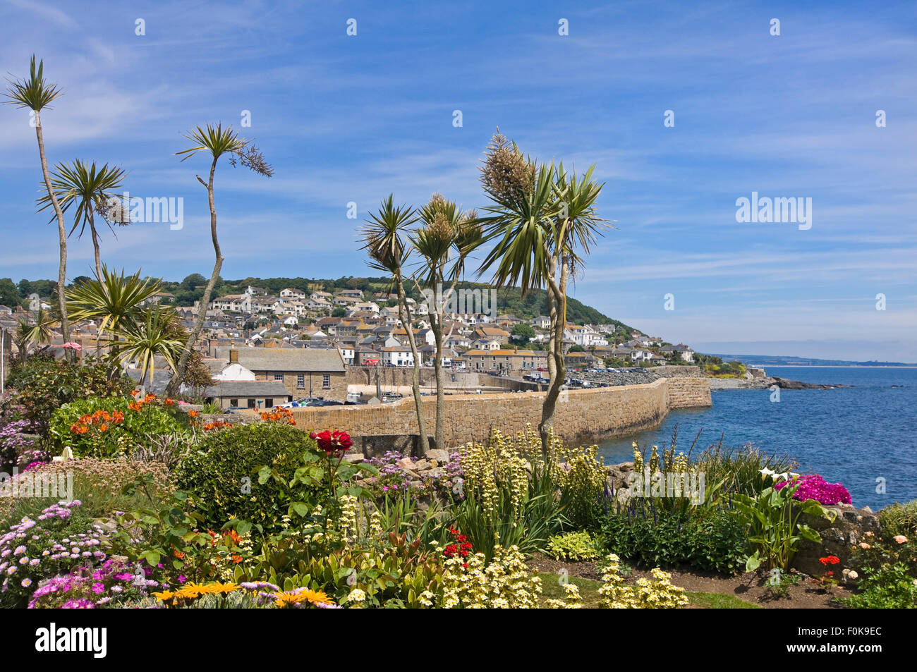 Horizontal view of Mousehole in Cornwall. Stock Photo