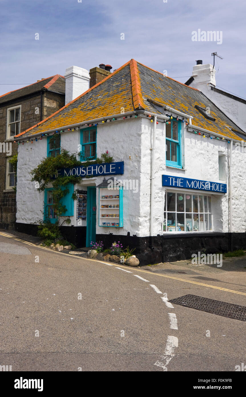 Vertical street view of Mousehole in Cornwall. Stock Photo