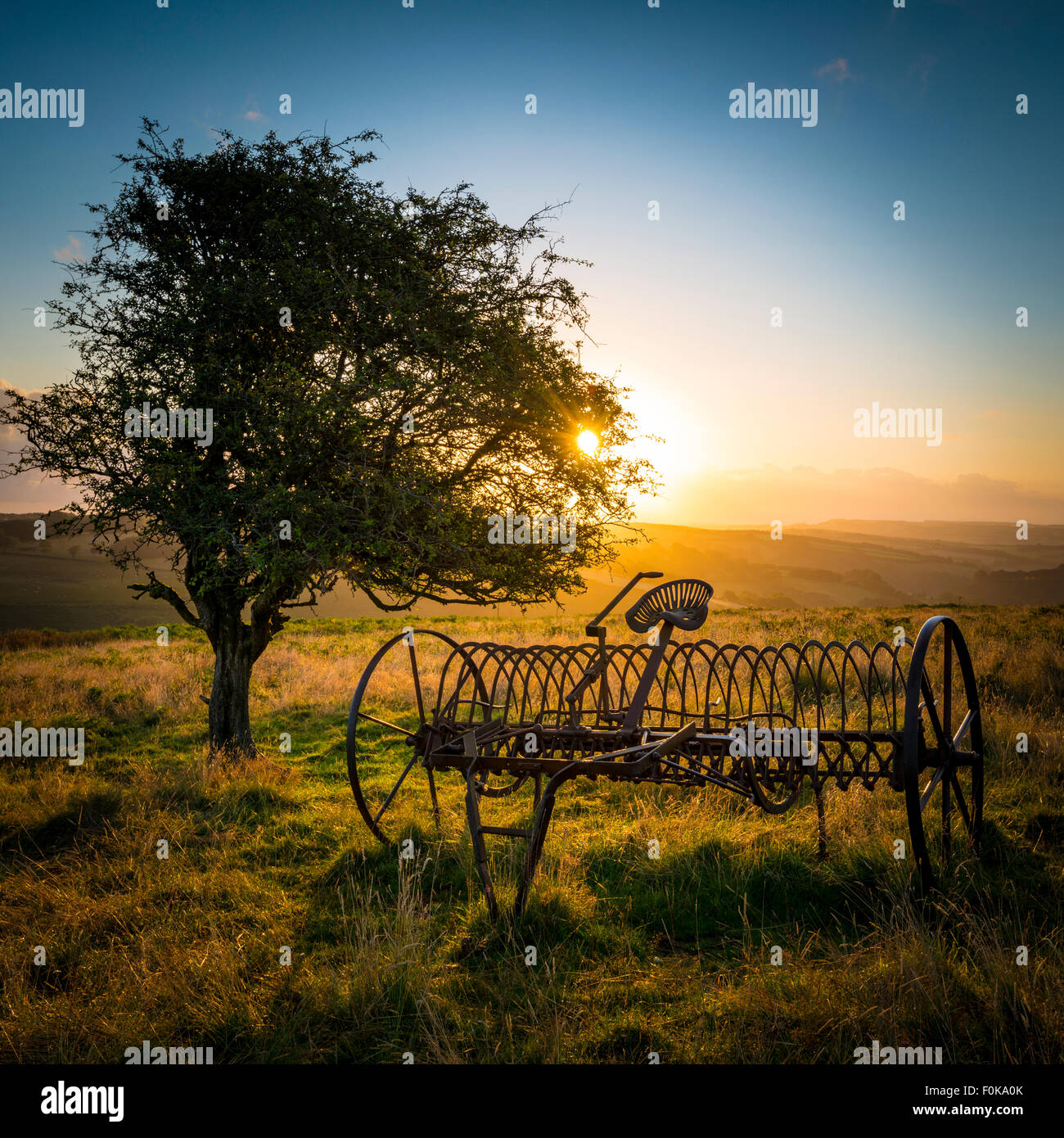 Old abandon farm equipment on the moorlands of Exmoor. - Stock Image