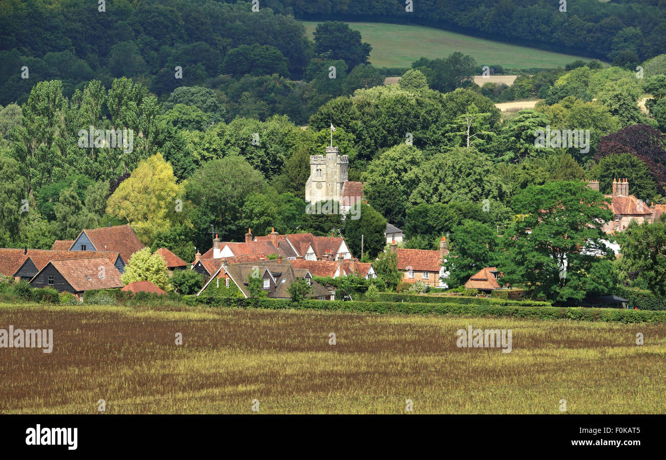 An English Rural Landscape in the Chiltern Hills with Village of Little Missenden in the distance - Stock Image