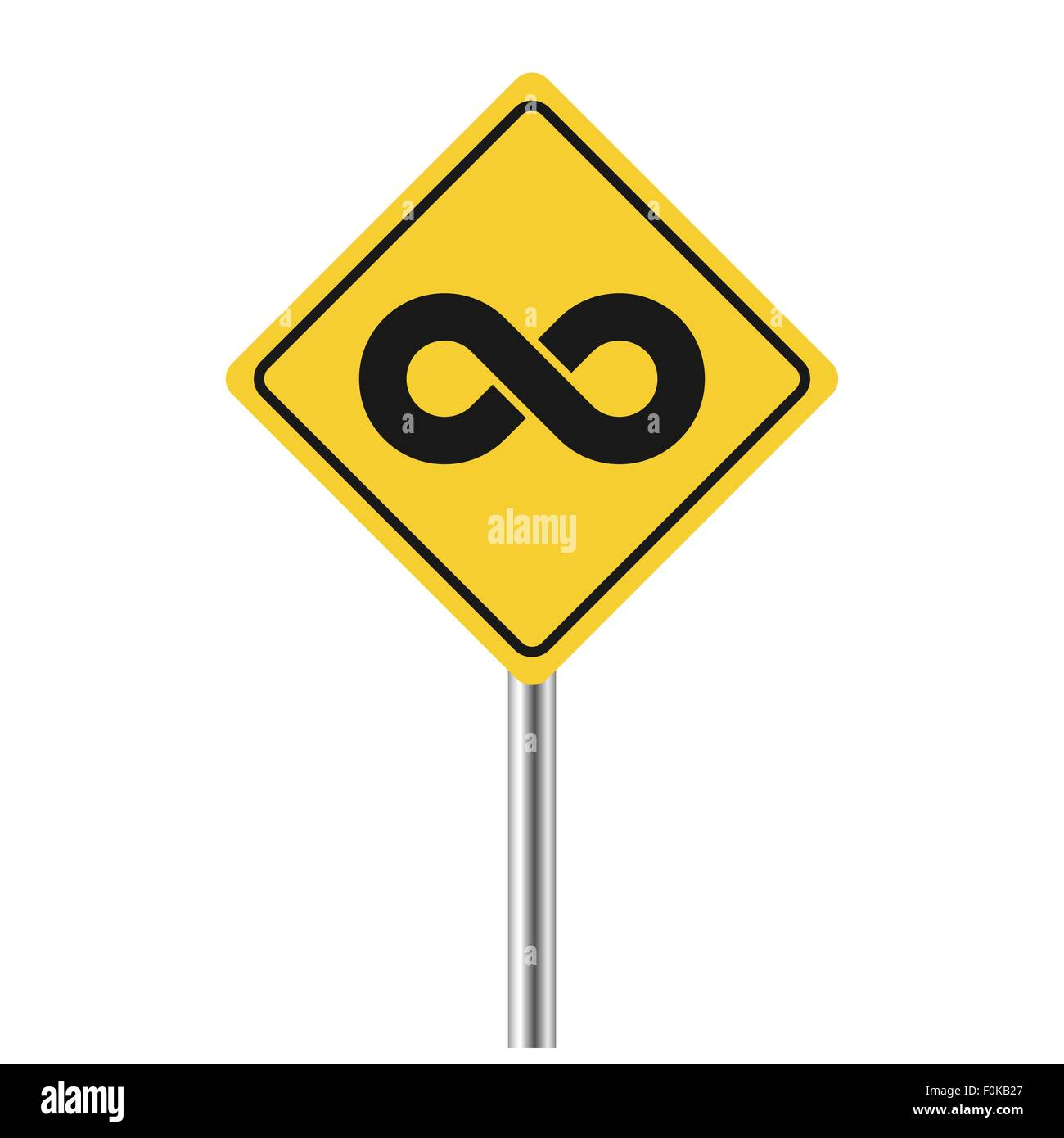 infinity symbol on yellow road sign vector illustration - Stock Image