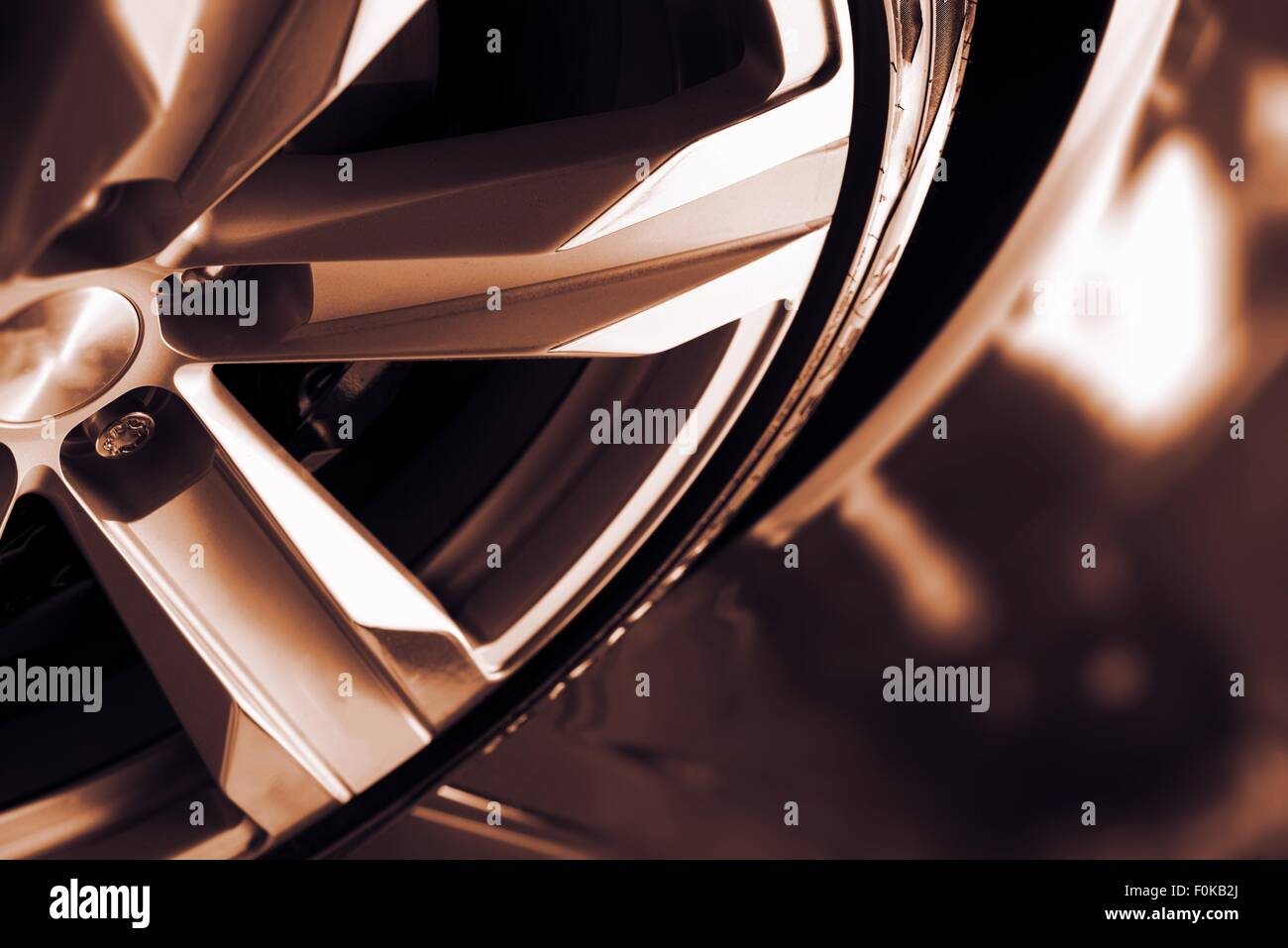 Alloy Car Wheel Closeup. Modern Car Wheel. - Stock Image