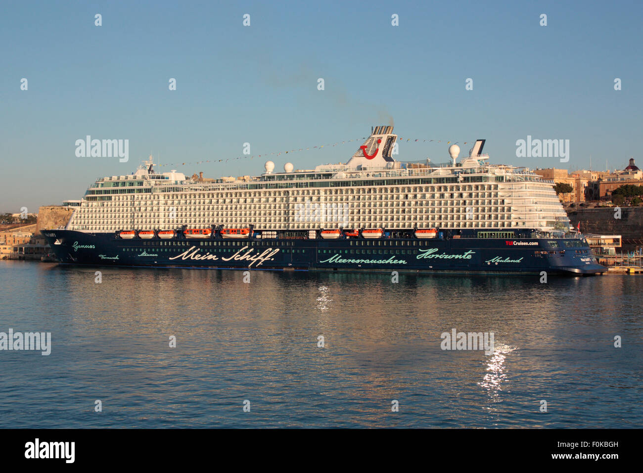 The TUI cruise ship or liner Mein Schiff 3 in Malta shortly after dawn - Stock Image