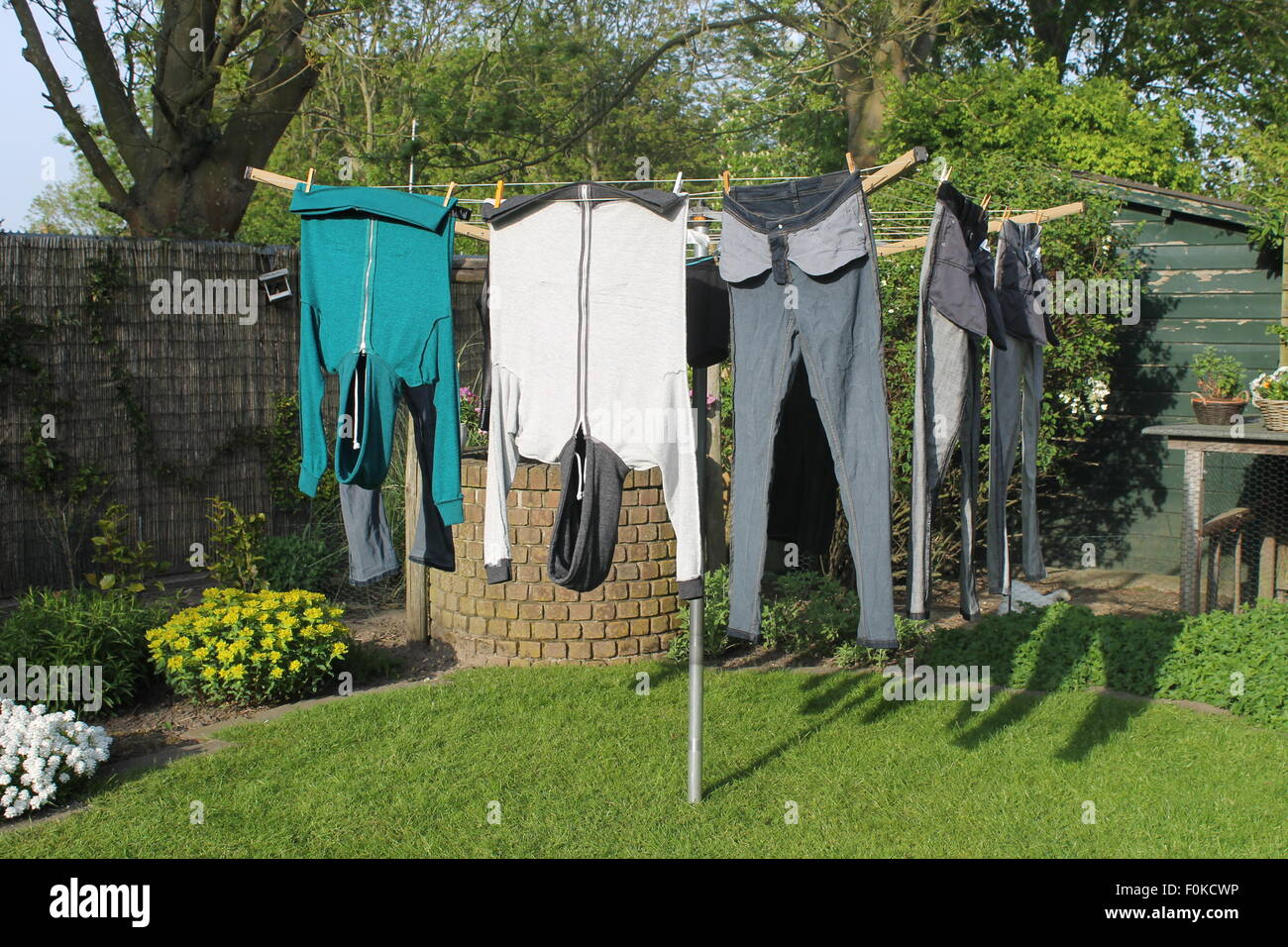 Jeans Washing Line Stock Photos & Jeans Washing Line Stock Images ...