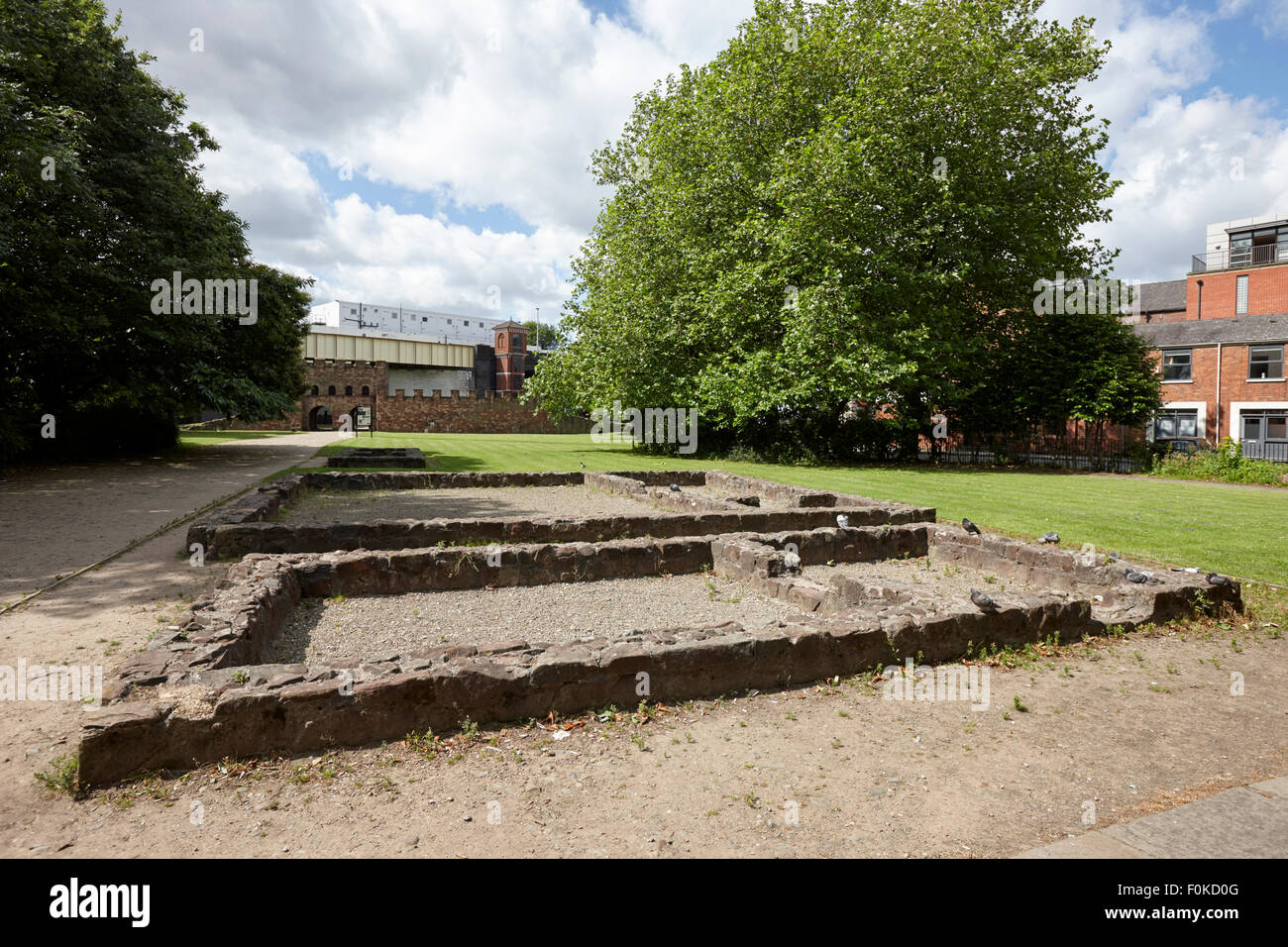 remains of the old roman fort mamucium in castlefield Manchester England UK - Stock Image