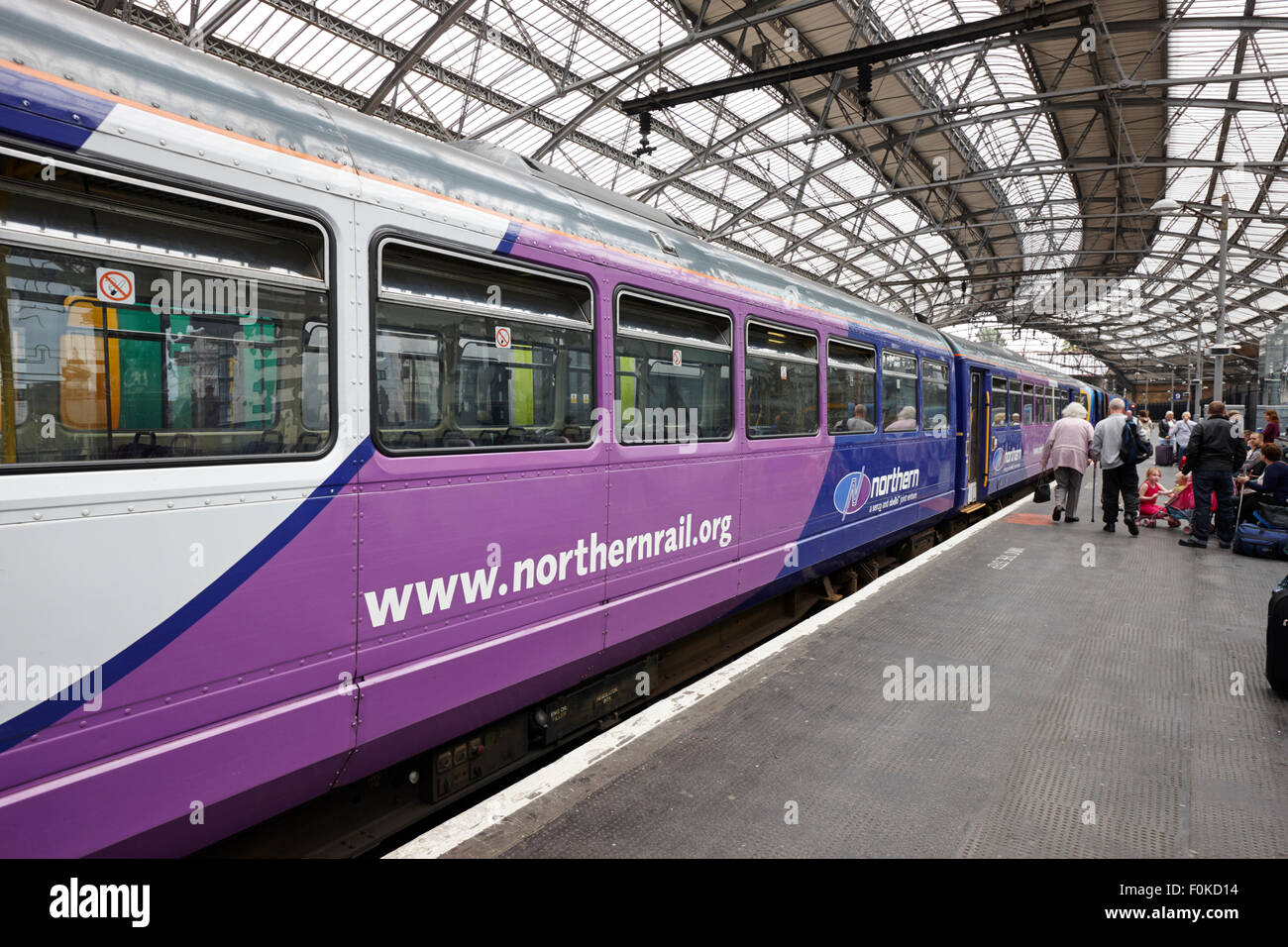 northern rail line train on platform at Liverpool lime street station England UK - Stock Image