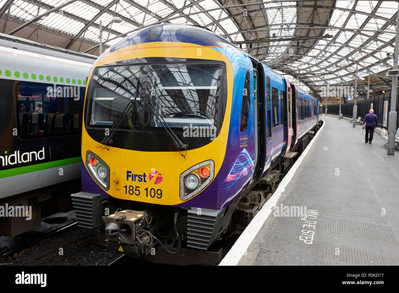 first local rail service on platform at Liverpool lime street station England UK - Stock Image