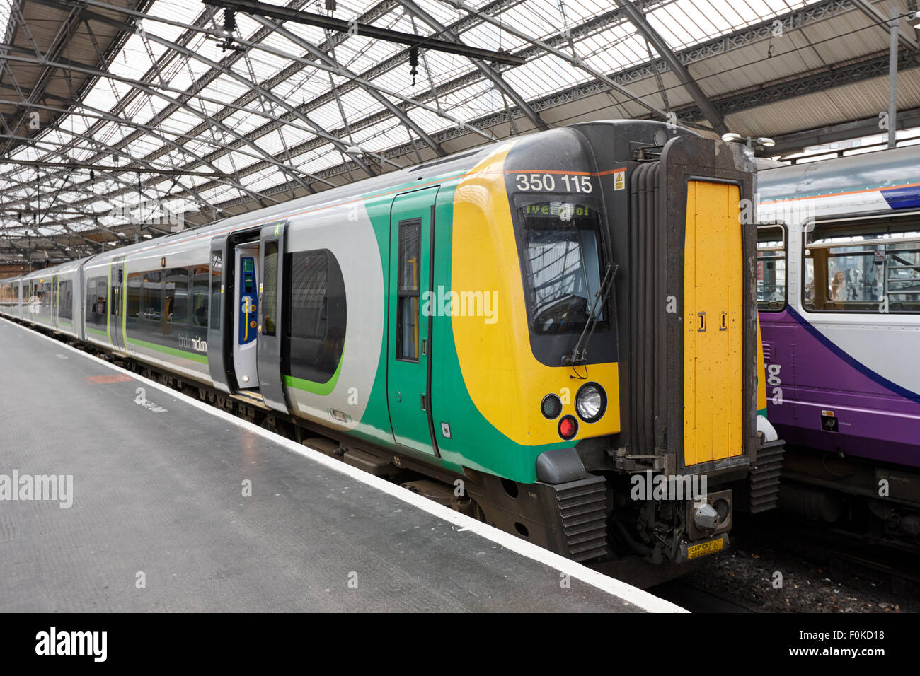 london midland train at Liverpool lime street station England UK - Stock Image