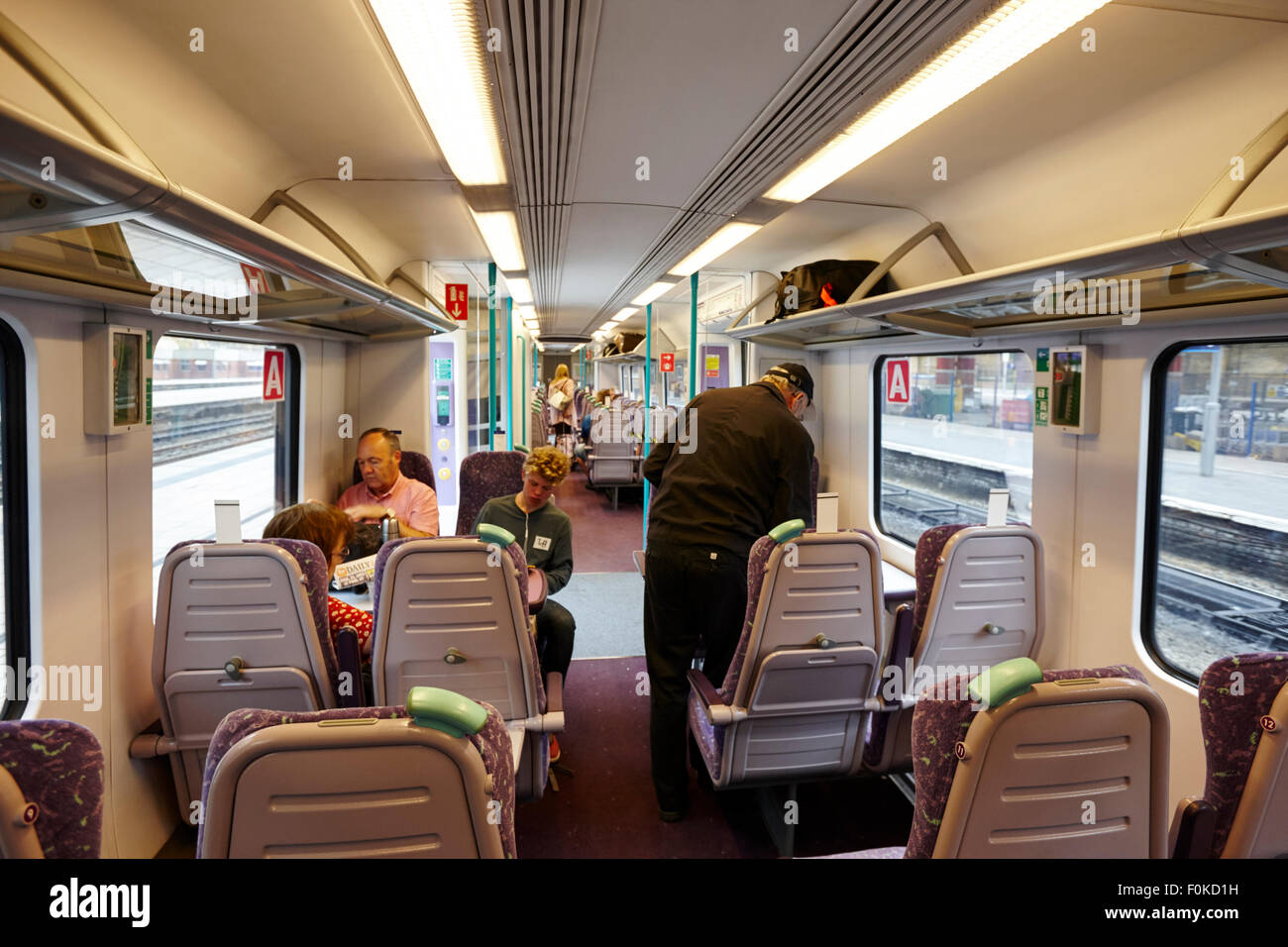 on board the trans pennine express Liverpool England UK - Stock Image