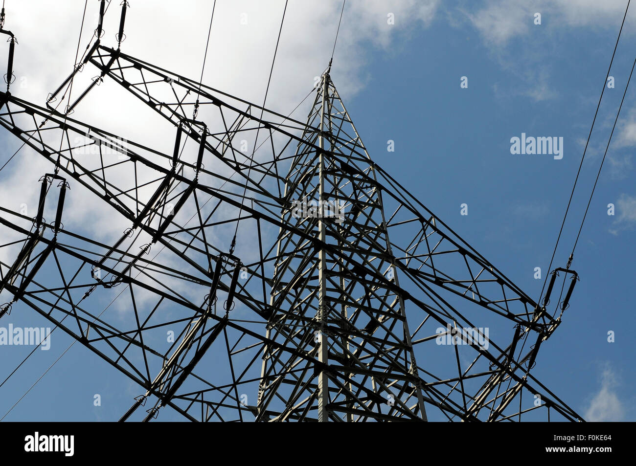 RWE Tower with 380000 voltage in Germany Stock Photo