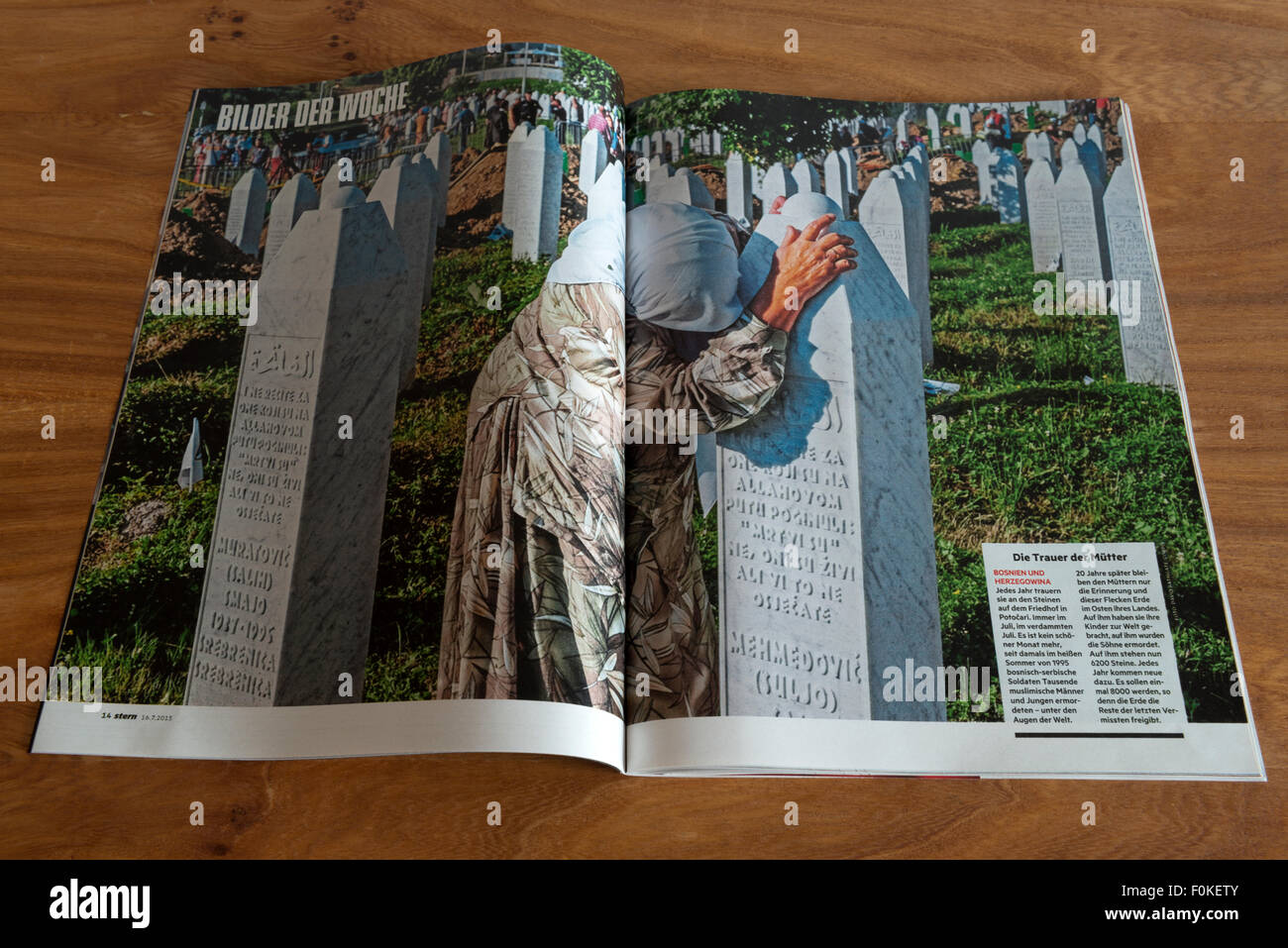 Stern magazine 16.7.2015 article of 20 years anniversary of the war in Bosnia - Stock Image