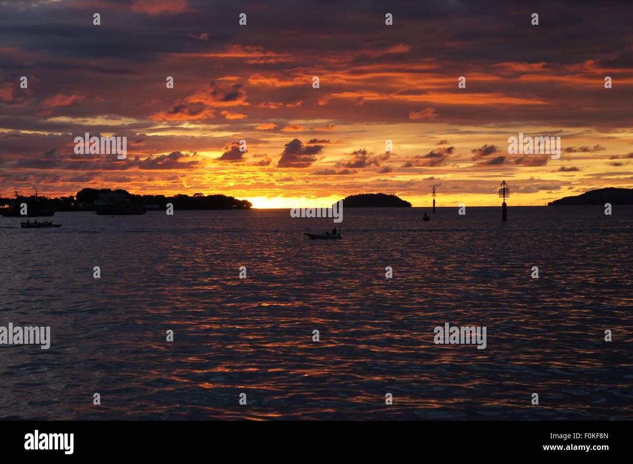sunset at Kota Kinabalu, Sabah Stock Photo