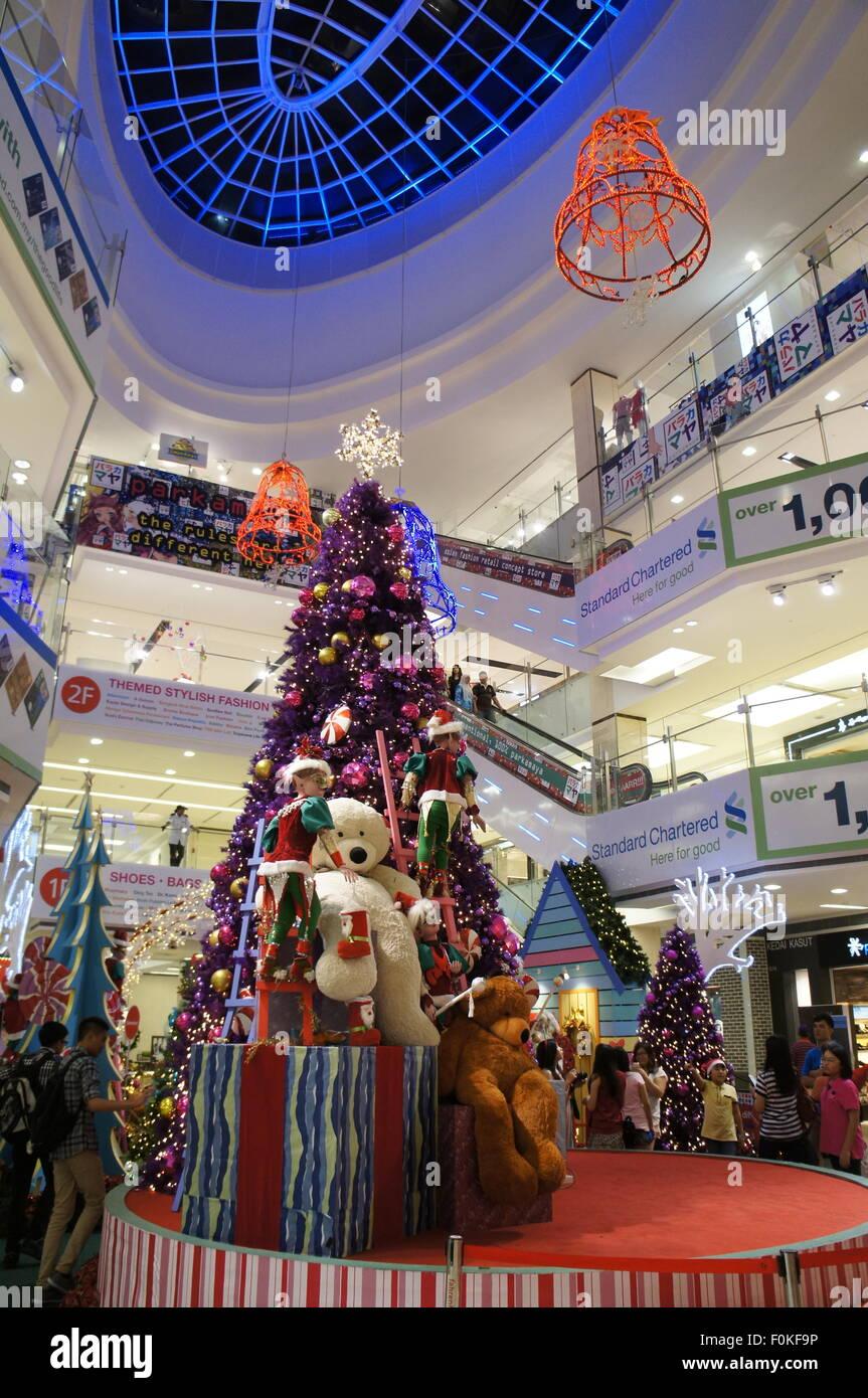 christmas tree decoration at shopping mall in bukit bintang kuala lumpur malaysia stock