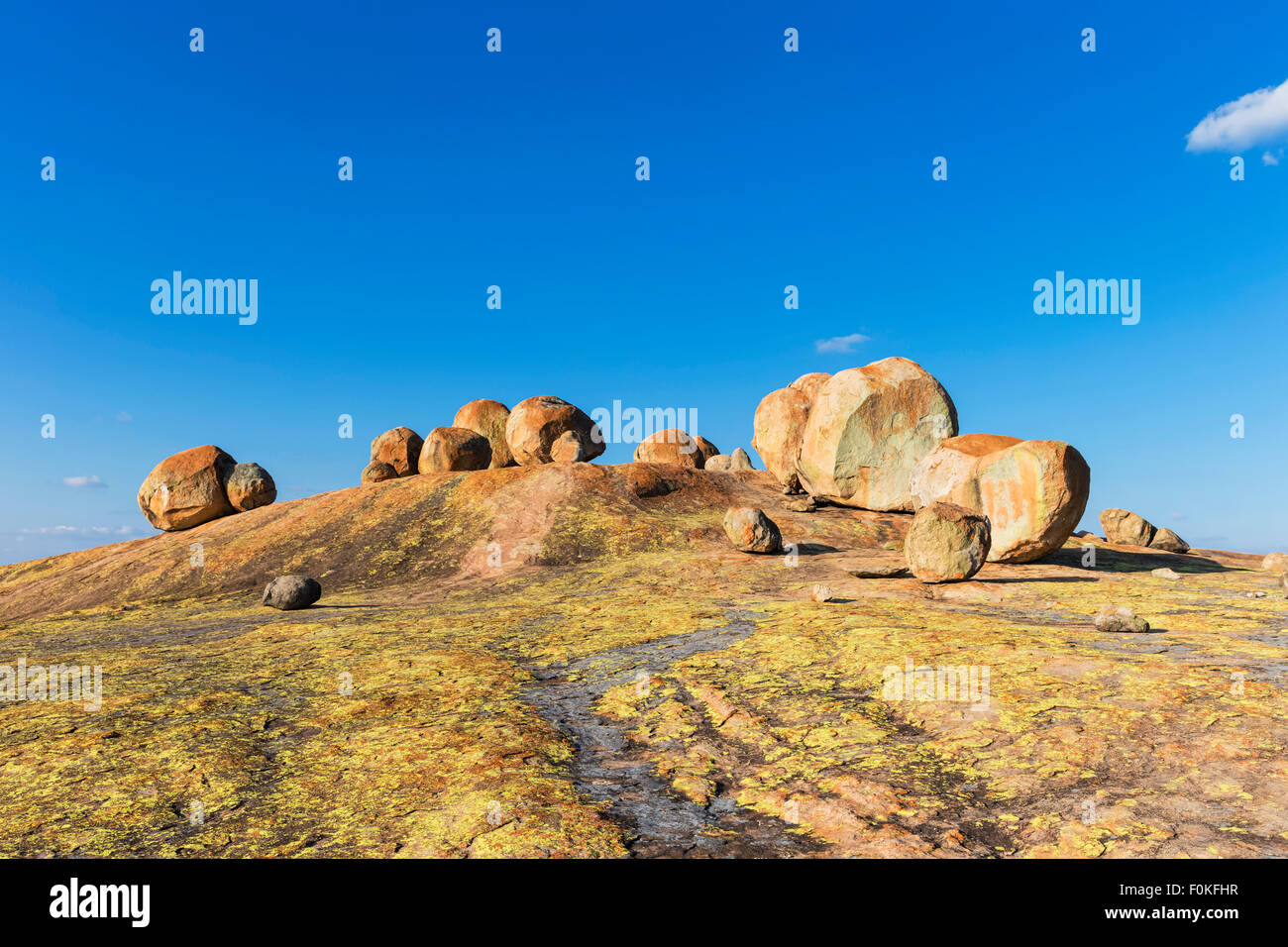 Africa, Zimbabwe, Matobo National Park, Rock formation with tomb of Cecil Rhodes - Stock Image