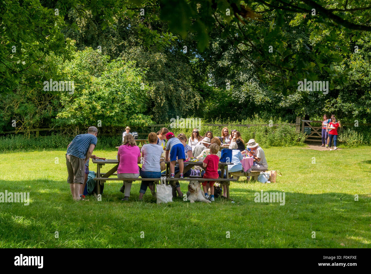 Families enjoying a picnic at the Yorkshire Sculpture Park. - Stock Image